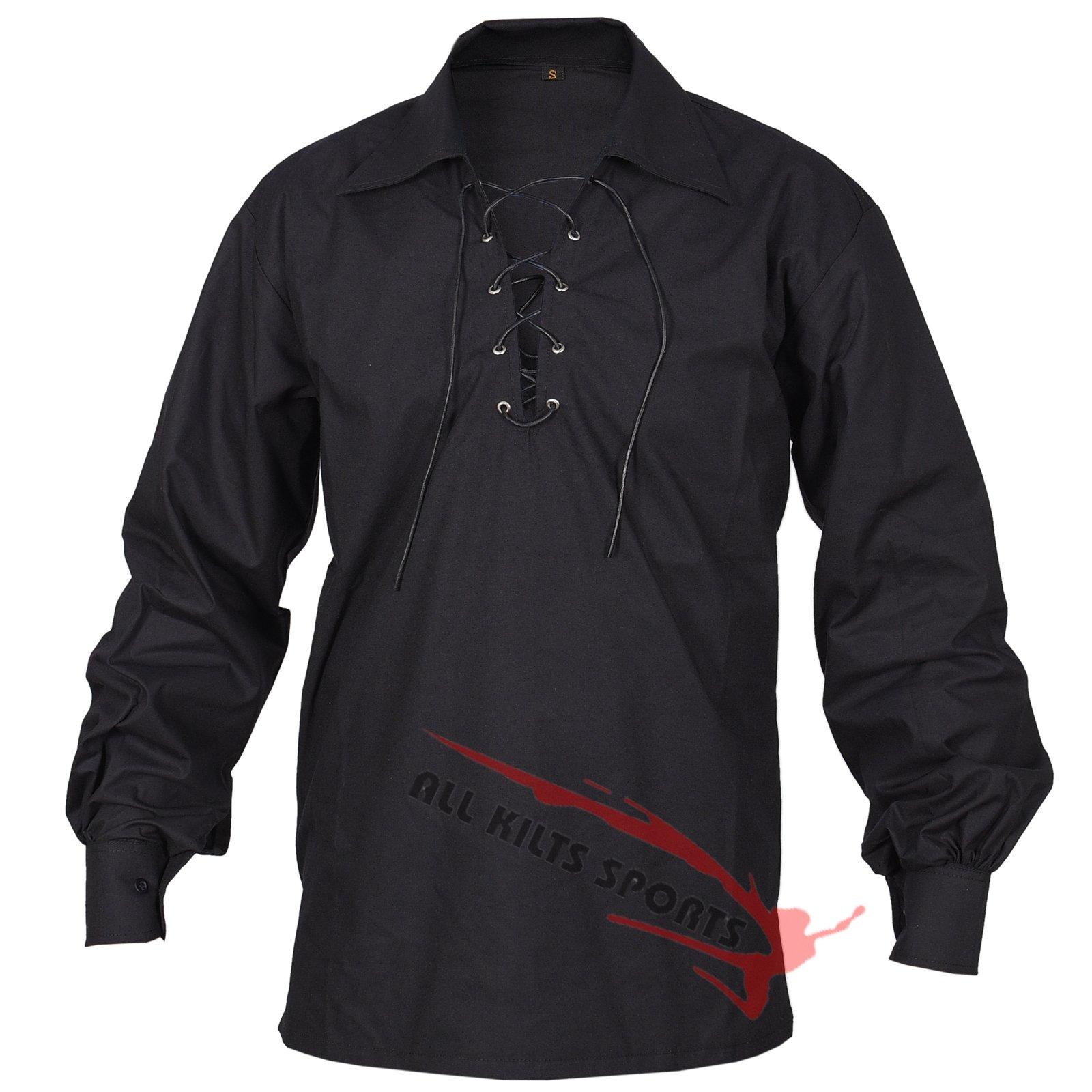 Black Jecobite Traditional Ghillie Kilt Shirt (5XL)