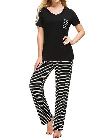 b5094e7f581 M-anxiu Pajama Set Womens 2 Pcs Cotton Top   Long Plaid Bottoms Sleepwear(