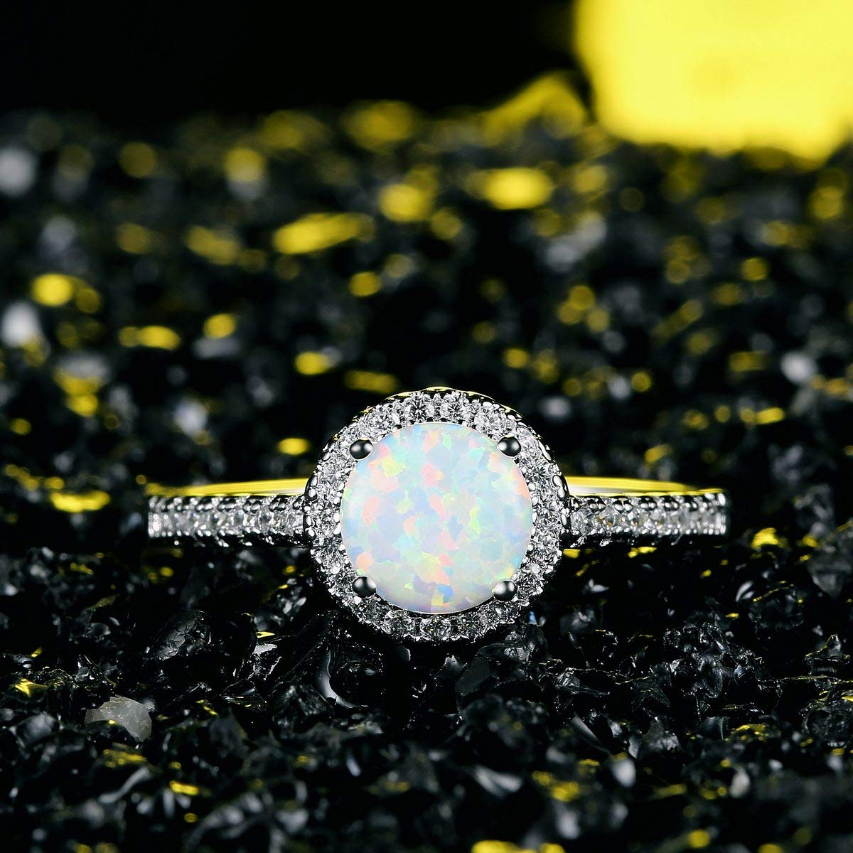 JIANGYUE Women Halo Rings Created Fire Opals Rhodium Plated Exquisite Charming Ring Party Elegant Jewelry Size 5-10