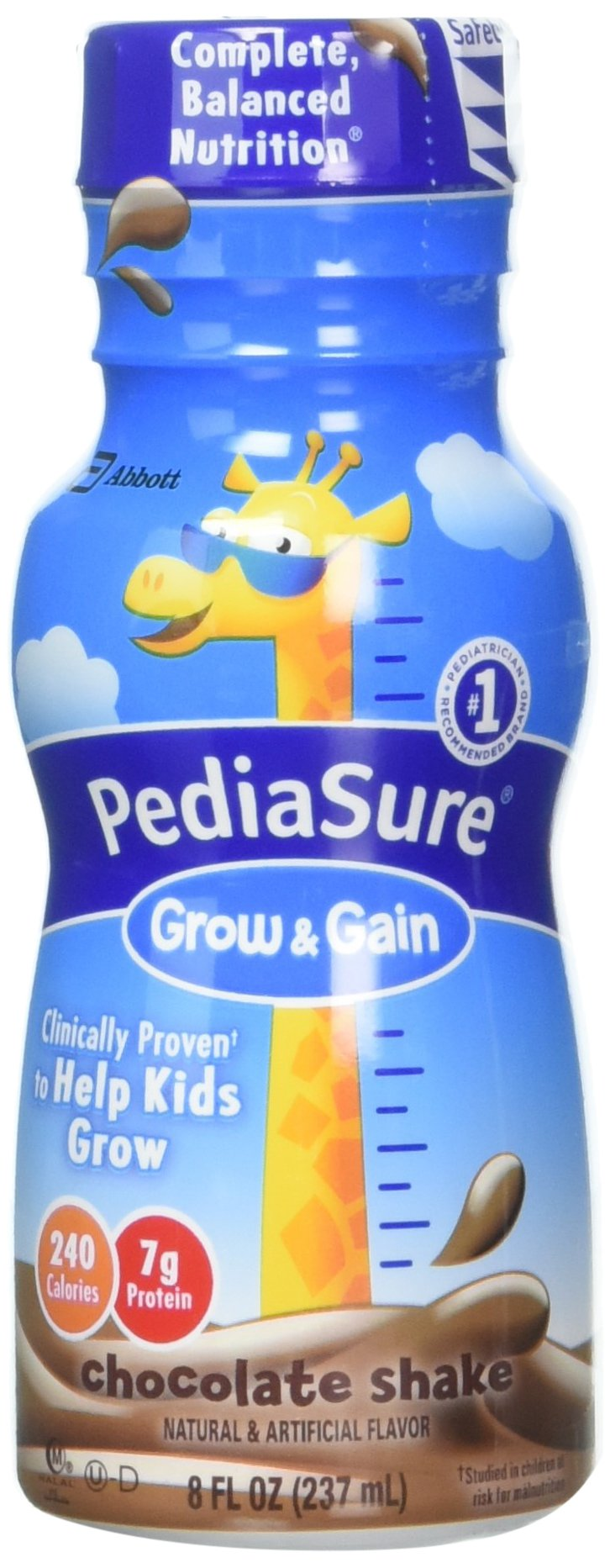 PediaSure Grow & Gain Nutrition Shake For Kids, Chocolate, 8 fl oz (Pack of 6)