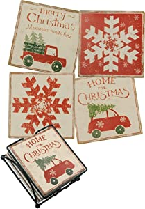 Primitives by Kathy 36087 Stone Coasters, Home for Christmas