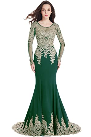 Misshow 2018 Long Sleeve Plus Size Mermaid Formal Evening Dresses