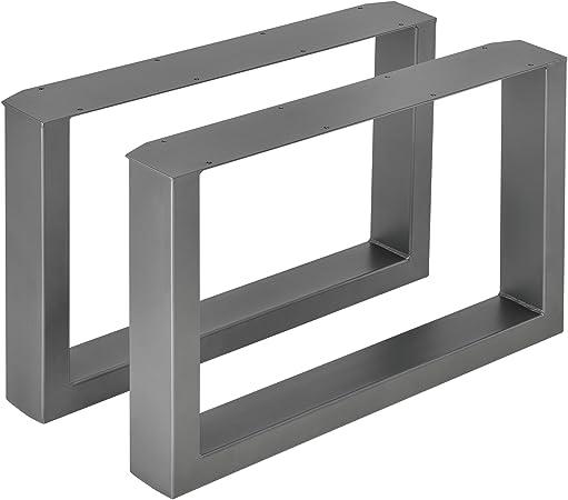 40 x 43 cm Piedi per tavolini da salotto e panche con protezione di pavimento Gambe da tavolo grigio argento in set di 2 pezzi en.casa