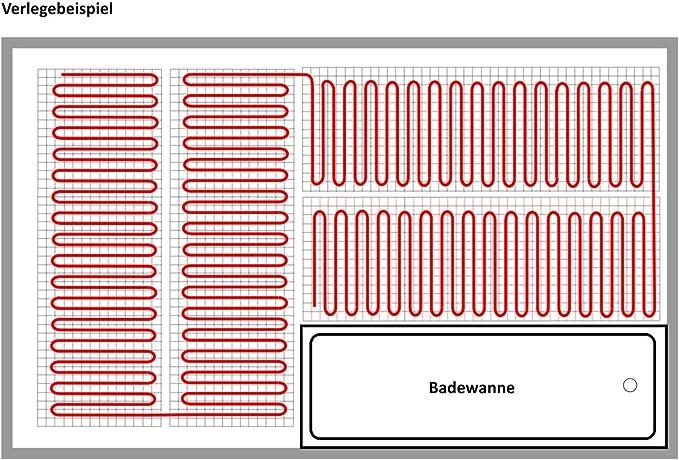 6.8 m/² - 0.5 m x 13.6 m Elektrische Fu/ßbodenheizung Komplett-Set BZ-150 plus