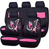NEW ARRIVAL- CAR PASS 11PCS Insparation Universal Seat Covers Set Package-Universal fit for Vehicles,Cars With Opening Holes for headrest and selt belts,Airbag Compatiable (Black With Pink)