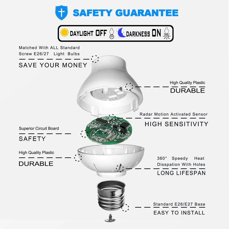 Motion Sensor Light Socket Holder For Led Lamp Base E26 Wiring Lights E27 To Bulb Adapter Garage Porch Stairs