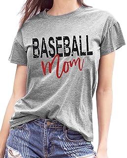 da292bfb Amazon.com: LONBANSTR Women Baseball Mom Letter Print T Shirt Short ...