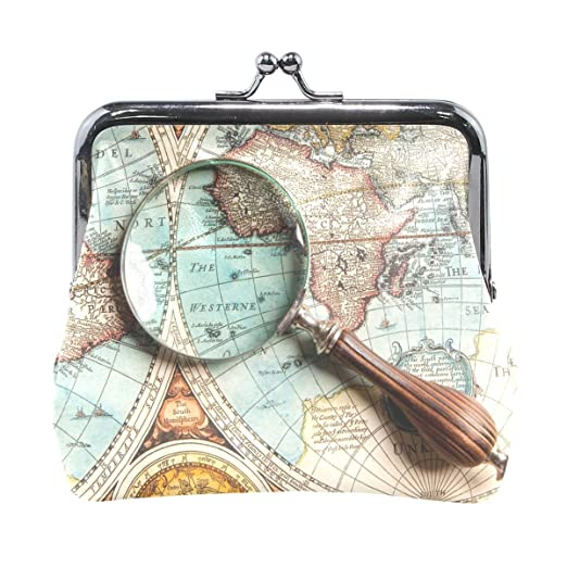 Women Wallet Purse Loupe Seach Ancient World Map Magnififier Clutch
