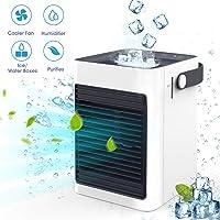 Chefavor Air Ice Cooler, Air Mini Humidifier & Purifier, Portable Air Evaporative Cooler
