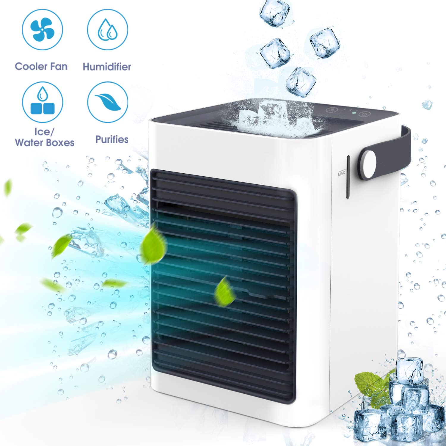 Air Ice Cooler, Air Mini Humidifier & Purifier, Portable Air Evaporative Cooler, Air Conditioner Fan Noiseless, USB Personal Space Air Cooler Quiet for Home, Bedroom Office, Desktop, RV, Outdoors