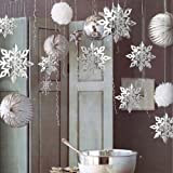 Leoie 6pcs 3D Hollow Cardboard Snowflake Hanging Ornaments Stylish for Christmas Home Party Decoration