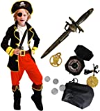 Tacobear Disfraz Pirata Niño con Pirata Accesorios Pirata Sombrero Parche Daga brújula Monedero Pendiente Pirata Disfraz de Halloween Niños (M 4-6 años)