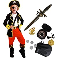 Tacobear Disfraz Pirata Niño con Pirata Accesorios Pirata Sombrero Parche Daga brújula Monedero Pendiente Pirata Disfraz…