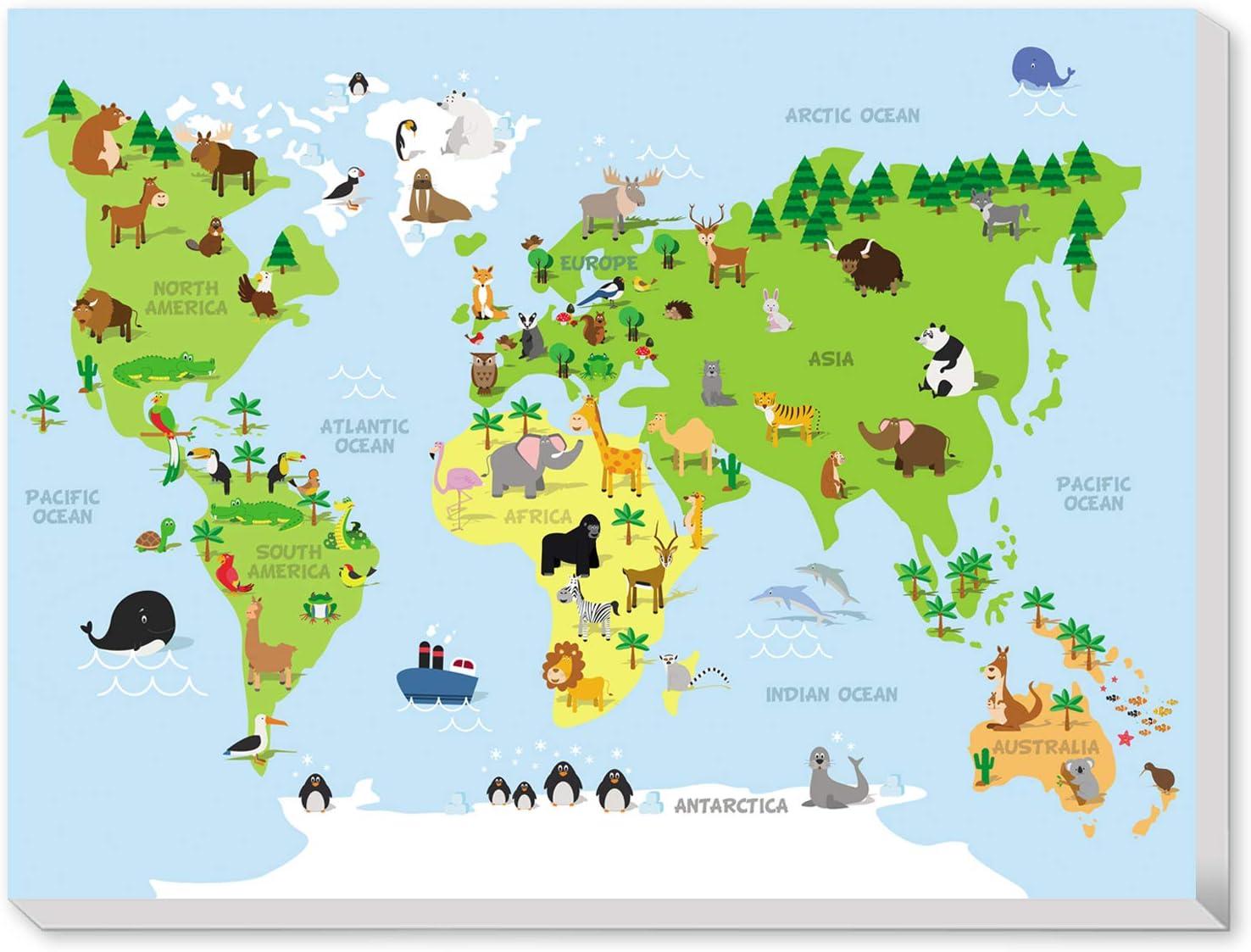 Texture of Dreams Kids Zoo Animal World Map Print Wall Art Canvas, Children Educational Developmental Fun Animal Map of The World, Baby Room Design Nursery Decor Large Canvas Prints (18
