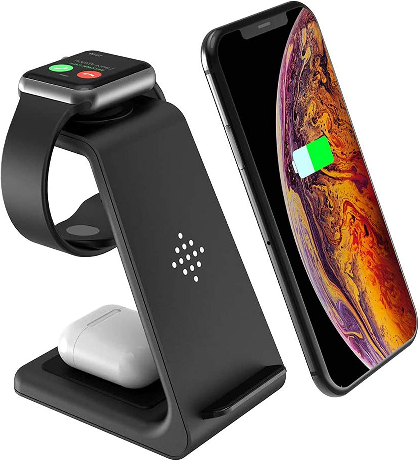 LEXONIX Wireless Charging Stand, 3 in 1 Wireless Charger Fast Charging Dock Station for Apple Watch 6 SE 5 4 3 2, Airpods 2/Pro, iPhone 12/12 Pro/12 Pro Max/11/11 Pro/X/Xr/Xs/8 Plus, Qi Phones