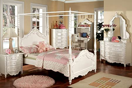 New Victoria Pearl White Wood Kids Twin Full Size Canopy Bed Girls