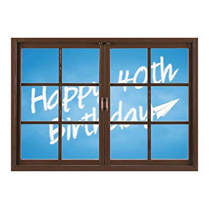 SCOCICI Window Mural Wall Sticker 40th Birthday DecorationsCelebration Theme Clouds In Blue Sky
