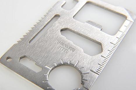 Huntington, Survival Card, Tarjeta multiuso 6,8cm x 4,5cm (2mm de espesor) - herramienta de supervivencia tamaño tarjeta de crédito con 11 funciones, ...