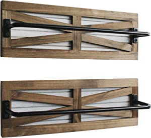 2PCS Rustic Towel Rack for Bathroom Wall Mounted, Wall Mounted Wood Hanging Bathroom Towel Holder and Organizer for Kitchen Storage Organizer Rack, Bathroom Towels, Robes, Clothing (Brown)