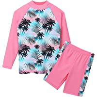 TFJH Girls Swimsuit UPF 50+ UV Two Piece Coconut Tree Printed 4-12 Years