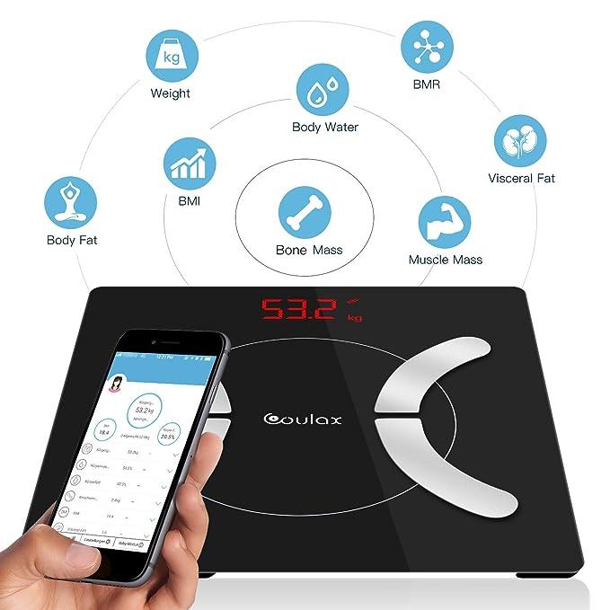 Bascula Grasa Corporal Inteligente, COULAX Bascula Baño, Prueba de Datos de Salud Corporal, Gratis con APP, Compatible con Bluetooth, iOS y Android: ...