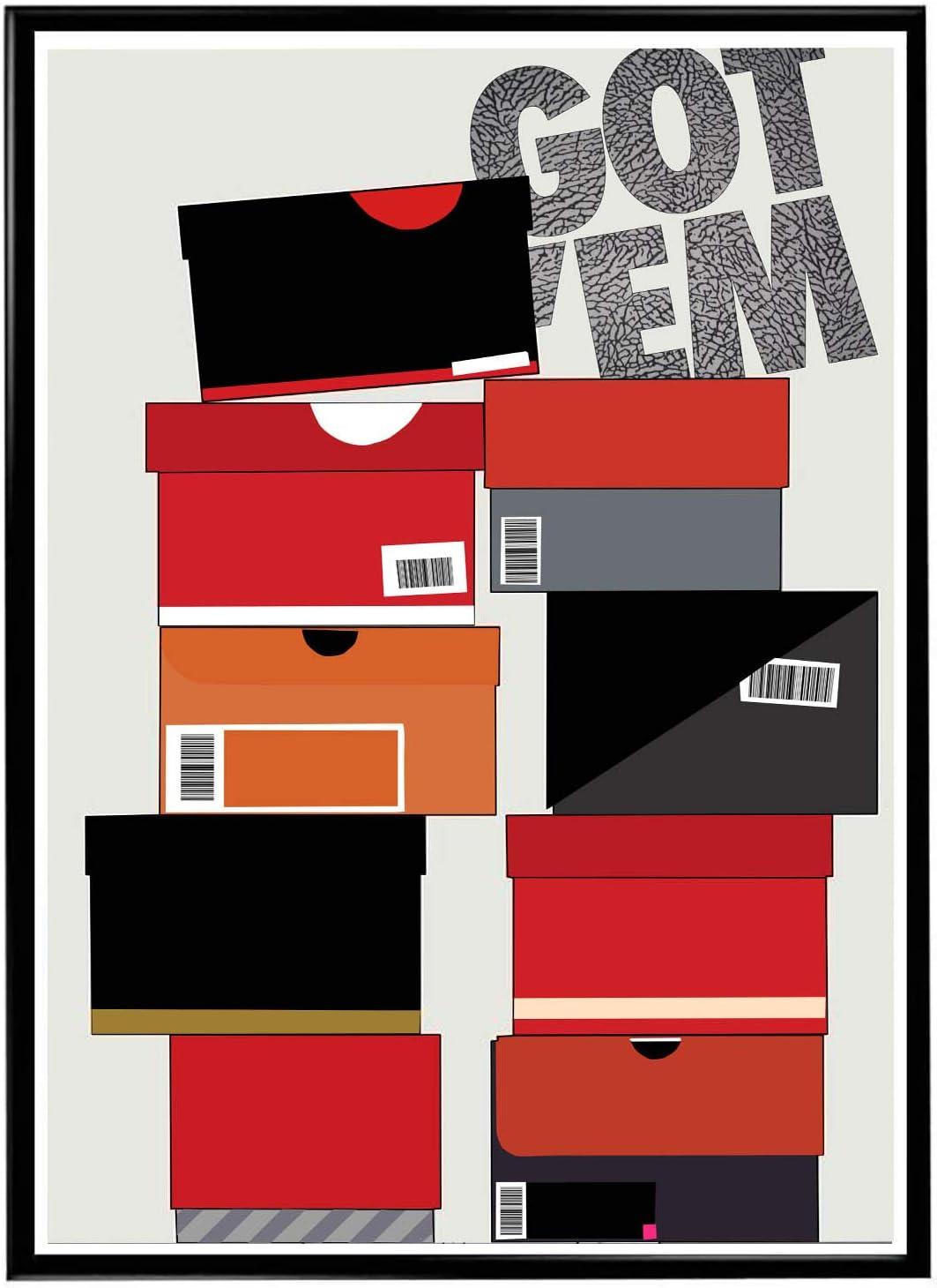 Rob'sTees Custom Sneaker Box Poster, Got Em Sneaker Poster, Hype Poster, Kicks Poster, Pop Culture Sneaker Art Wall Decor Streetwear Art (Frame NOT Included) (12x18)