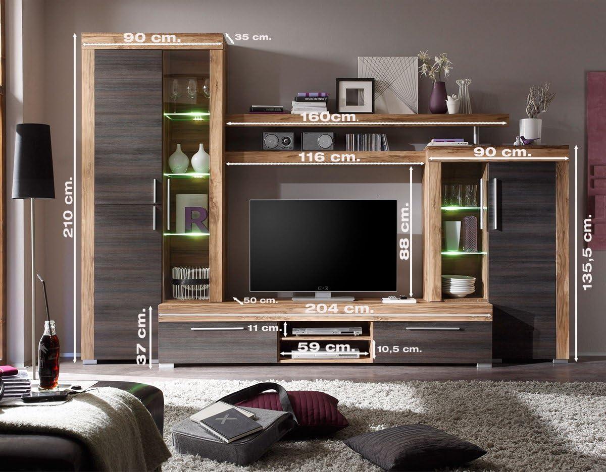 Homely Mueble de salón Modular Mallorca de 296 cm.con vitrinas y Mueble TV.: Amazon.es: Hogar