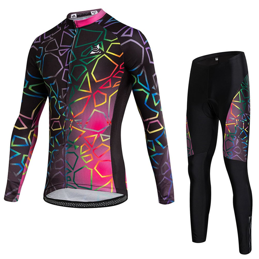 Uriah Women 's Thermal Fleece Cycling Jersey Long Sleeve and 3dジェルパッド入りパンツセット B075CGCYYG 3L|Graph Black Graph Black 3L