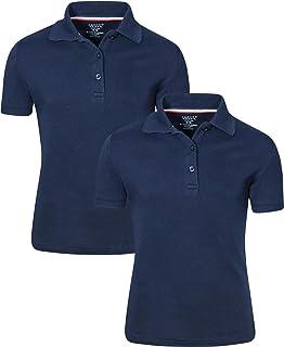 Beverly Hills Polo Club Uniform Polo Long Sleeve Interlock Shirts for Girls 3PK