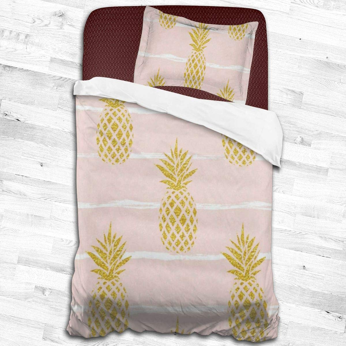 """Kids Duvet Cover Set Summer Gold Pineapple Quilt Covers Decorative 2 Piece Bedding Set with 1 Pillow Cases Microfiber Comforter Cover for Toddler Teen Boys Girls Children 55""""x83"""""""