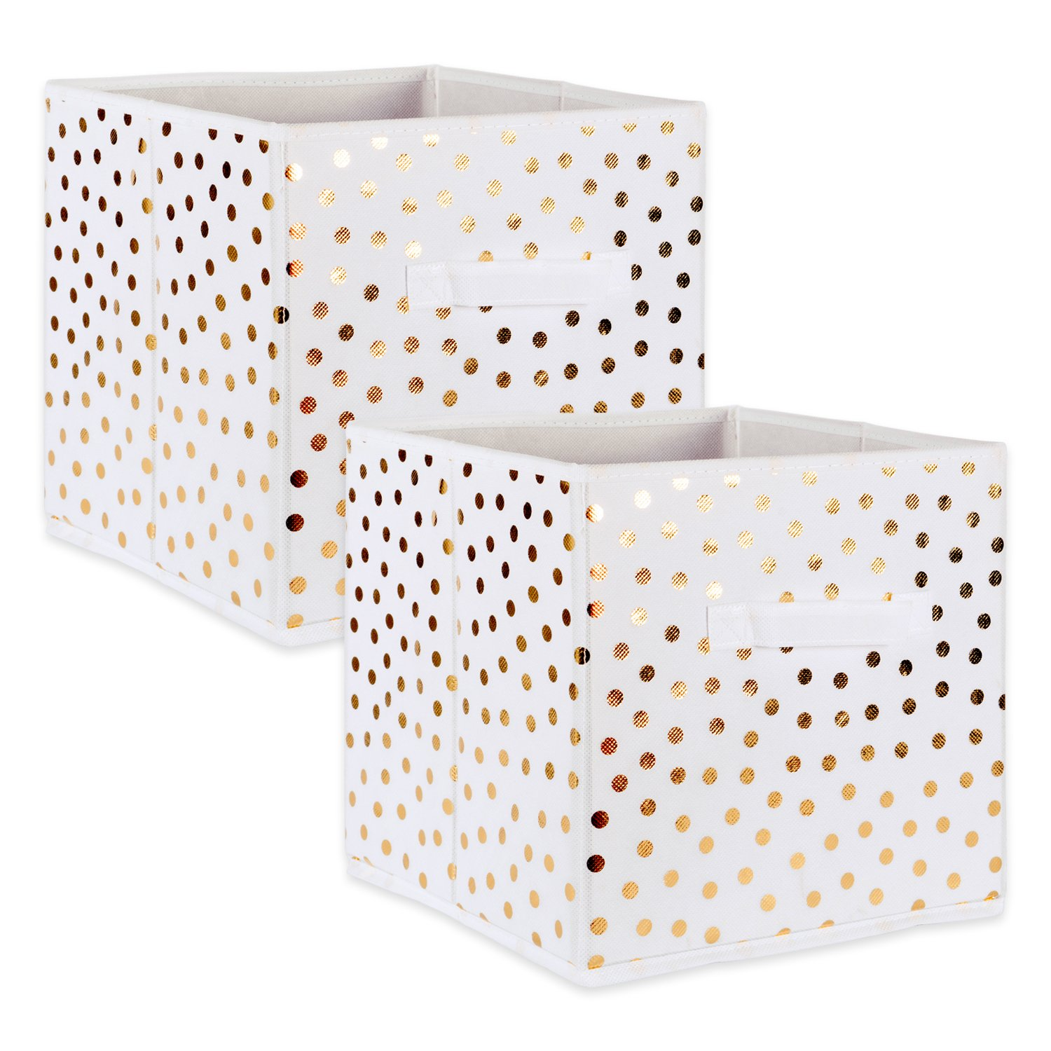 """DII Fabric Storage Bins for Nursery, Offices, & Home Organization, Containers Are Made To Fit Standard Cube Organizers (13x13x13"""") White with Gold Dots - Set of 2"""