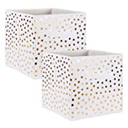 DII Fabric Storage Bins for Nursery, Offices, & Home Organization, Containers Are Made To Fit Standard Cube Organizers (11x11x11 ) White with Gold Dots - Set of 2