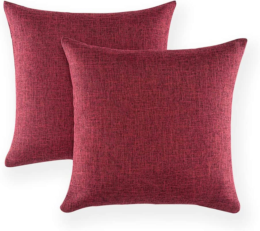 "Xinrjojo Set of 2 Decorative Deep Rich Red Color Throw Pillow Cases Cushion Covers Cotton Linen Square Textured, 18""x18""- Burgundy"