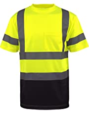 L&M Hi Vis Class 3 T Shirt Reflective Safety Lime Orange Short Long Sleeve HIGH Visibility, Black Bottom