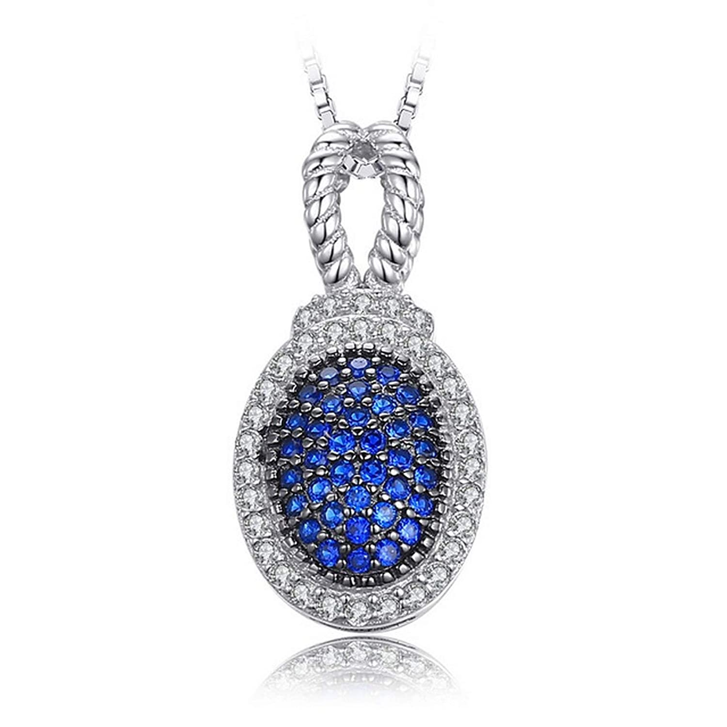 Womens Necklaces by CS-DB 0.32ct Blue Spinel Pave Elegant Girls Silver Pendants
