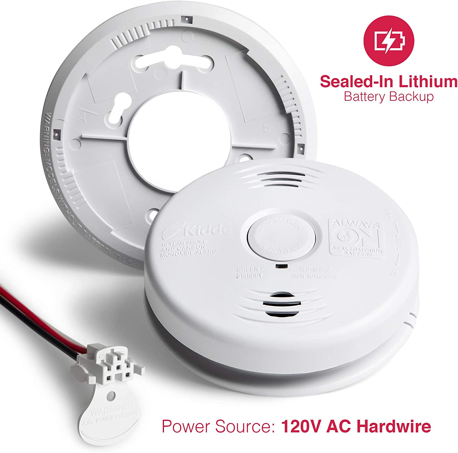 2 Pack Kidde Smoke and Carbon Monoxide Detector Alarm with Voice Warning White Hardwired w//10 Year Lithium Battery Backup Interconnectable