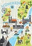 München Poster für Kinder - Wandkunst Wallart - Plakat Kinderstadtplan - Kinderposter - Stadtplan für Münchner Kinder A3