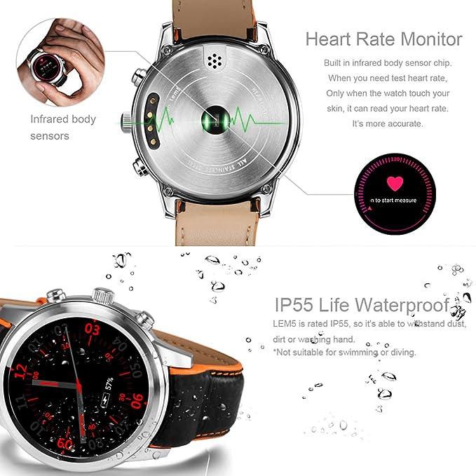 LEMFO LEM5 Reloj Inteligente Android 5.1 MTK6580 Quad Core 1GB / 8GB 3G WiFi GPS Monitor de Ritmo cardíaco Teléfono Celular Smartwatch para Anrioid ...