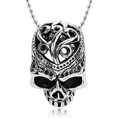 Anyeda Chaine Collier Homme Acier Inoxydable Argent Noir Collier Pendentif  Crâne Vintage Pendentif Hommes Crâne Creux 9ccd13baa5ea