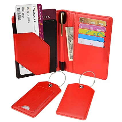 823be5e5c230 COCASES Passport Case PU Leather RFID Blocking Card Slots Pen Holder Set of  Two Matching Luggage Tags for Travel(Red)