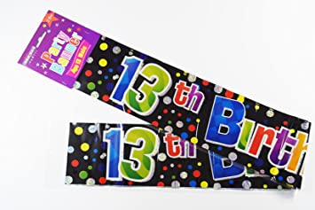 Happy 13th Birthday Banner Boys Teen Party Decoration Teenager Him Black Foil