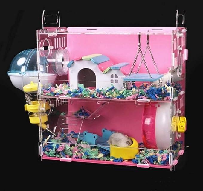 HCO-YU Hamster Casa de gran tamaño acrílico Villa Doble conejillo de Indias de la jaula pequeña del animal doméstico for un hámster BSERVACIÓN Nido presentes en la Navidad, Día de San Valentín, el Día