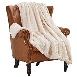 "Rose Home Fashion RHF Faux Fur Throw Blankets, Gothic Decor, Fuzzy Blanket, Soft Blanket, Throw Blanket for Couch, Plush Blanket, Fur Blanket, Fluffy Blanket, (Ivory, Throw50"" x 60"")"
