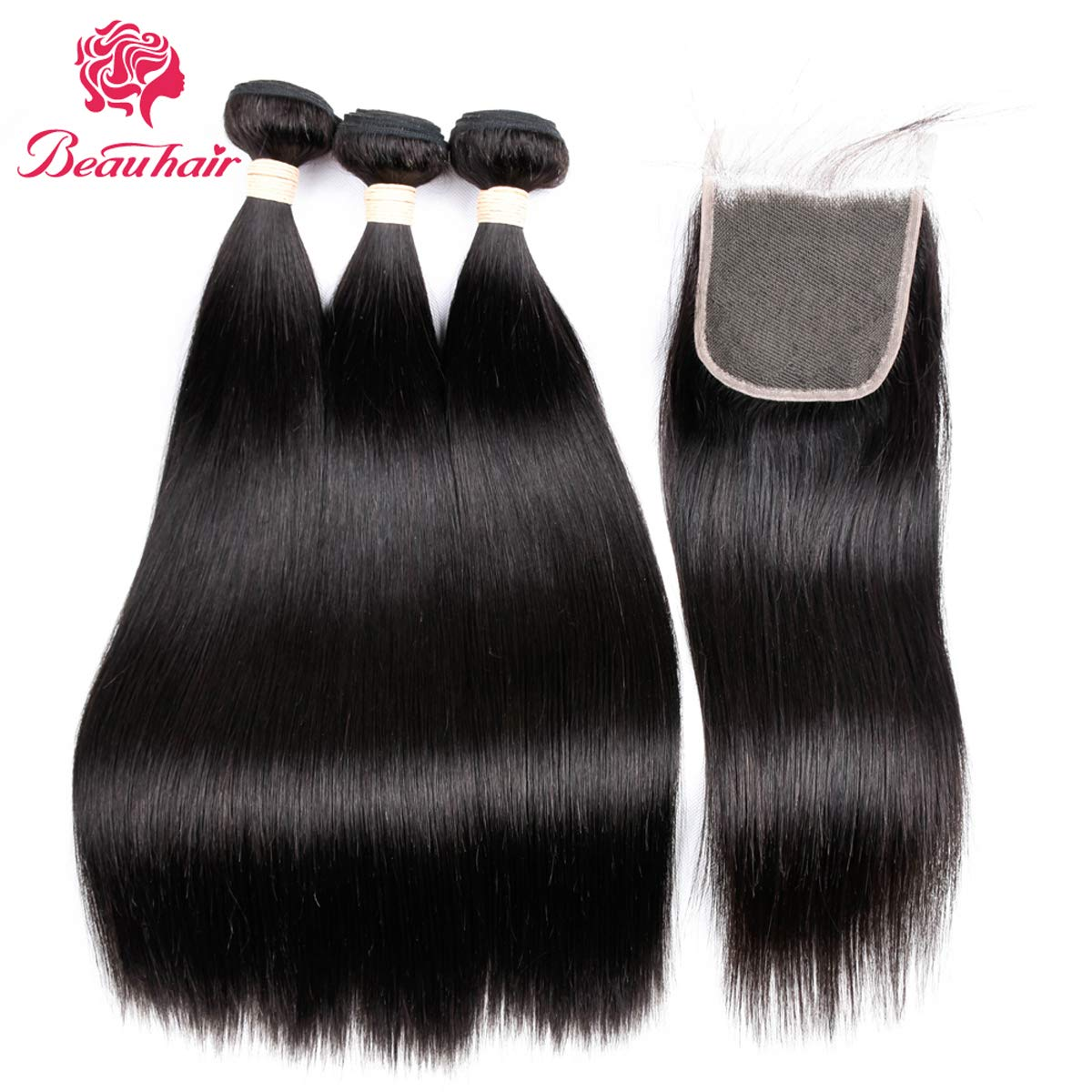 "Brazilian Hair 7A Virgin Human Hair 3 Bundles With (4x 4) Lace Closure Straight Wave Weft 100% Unprocessed Real Human Hair Extensions Natural Color (18 20 22+18"" Closure)"