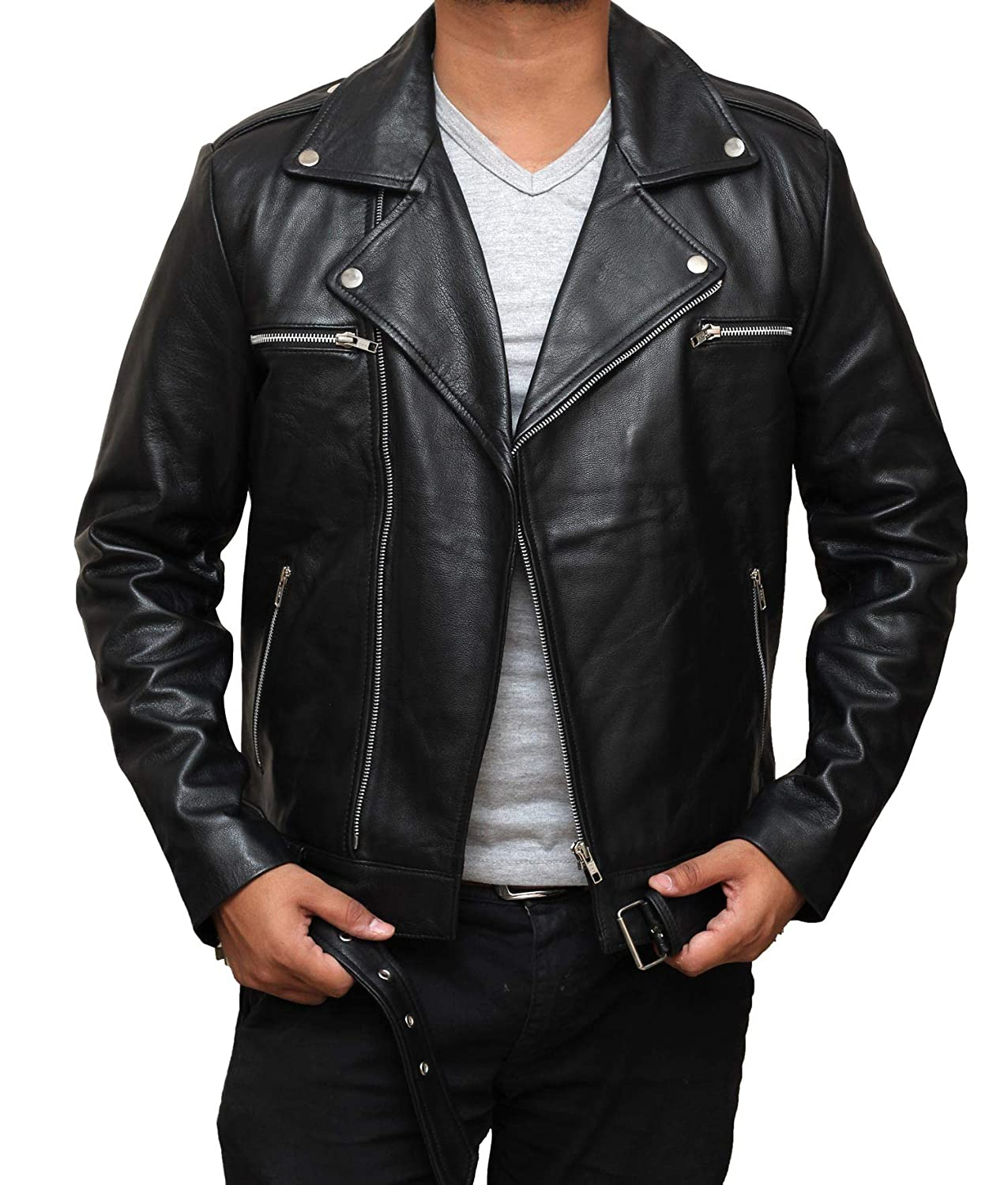 Motorcycle Mens Leather Jacket - Genuine Lambskin Biker Black Leather Jacket Men 7567981