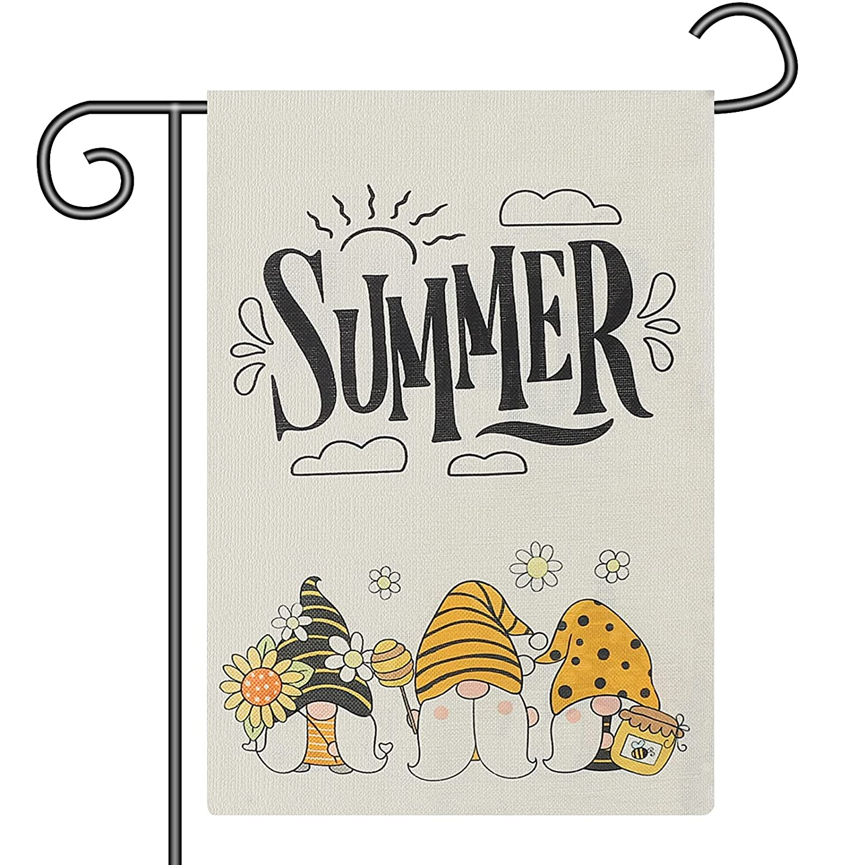 Summer&Kiss Summer Garden Flag-Sunflower Garden Gnomes for Outdoor Decoration,12 x 18 Inch Double Sided Vertical Yard Flag