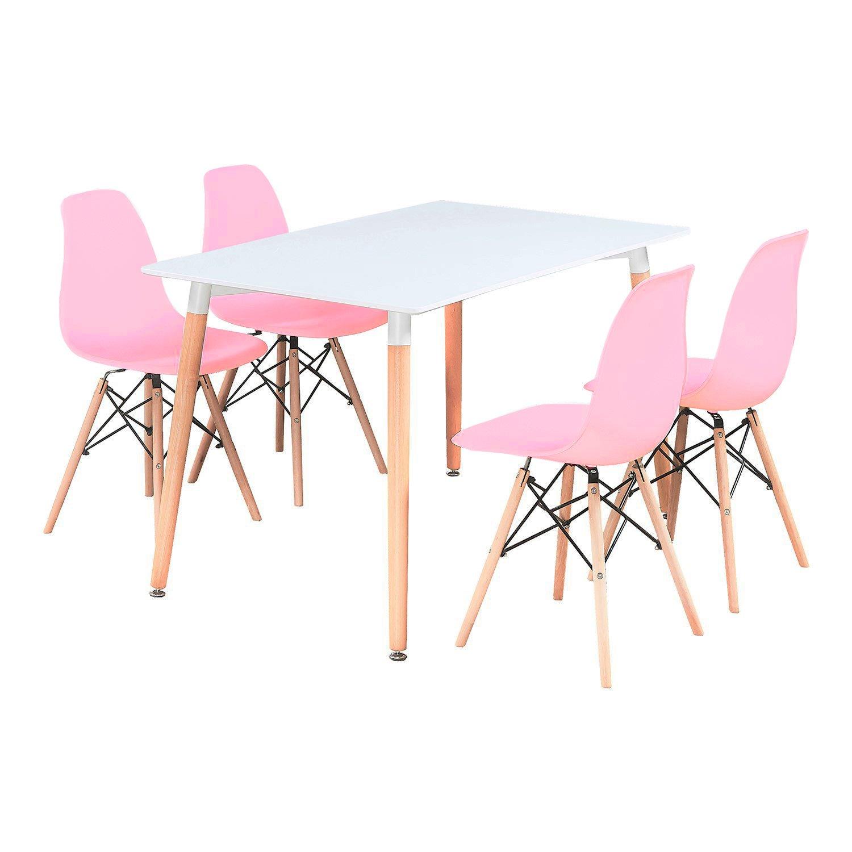P N Homewares Romano Eiffel White Table Pink Chairs
