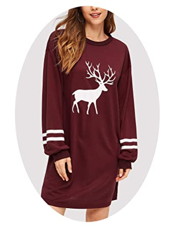 8e97abdf728 Image Unavailable. Image not available for. Color  Women s Burgundy Preppy  Reindeer Print Varsity-Striped ...