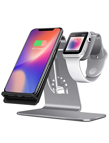 Bestand 2 en 1 Apple Watch Soporte & Soporte Cargador Inalámbrica para iPhone X/iPhone