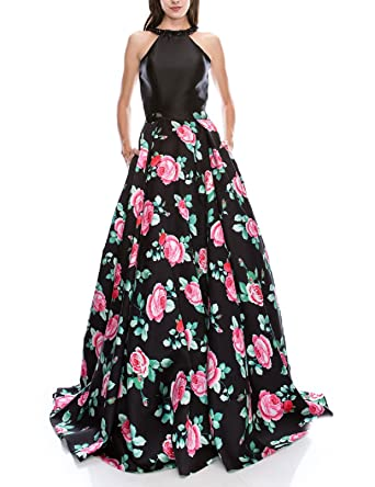 JoJoBridal Womens Beads Halter Evening Prom Dress Floral Ball Gown Black Size 2